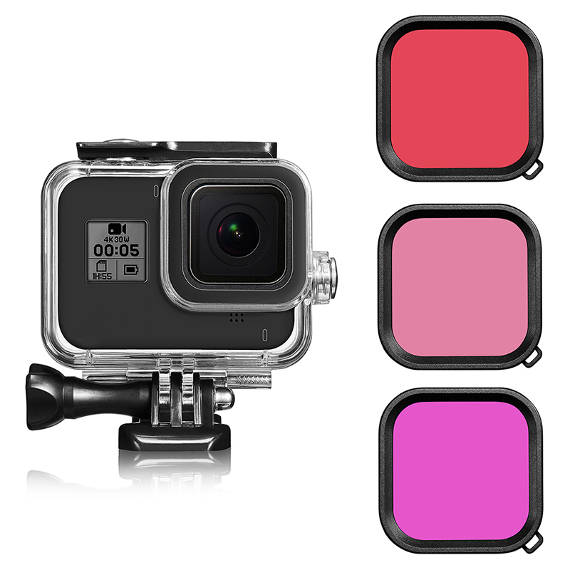 Accessories Kit For GoPro Hero 8 Black 60M Waterproof Housing + Snorkel Filters  For Go Pro Hero 8 Underwater Diving Protective