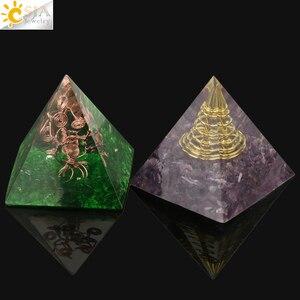 Image 5 - CSJA orgon enerji dönüştürücü orgonit piramidi Metal tel doğal çakıl reçine Reiki şifa manevi zanaat dekorasyon hediye G250
