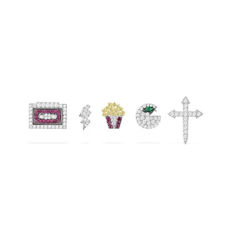 5 pièces/ensemble 925 argent pac-man foudre boulon bande pop-corn croix boucles d'oreilles colorées Zircon CZ j'aime 80S boucles d'oreilles femmes bijoux