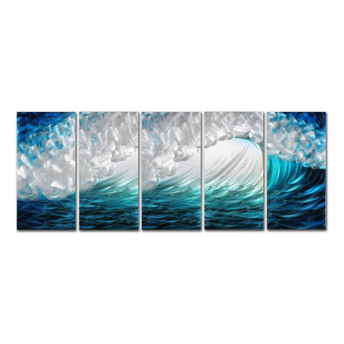 Vagues peinture moderne vague paysage marin impression mur Art décoration de la maison 5 panneaux décor décoration de la maison accessoires