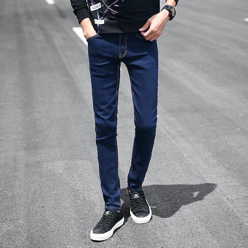 Pure Blue Skinny Jeans Men's Korean-style Versatile Slim Fit Elasticity Pants Trend Students Casual Black And White With Pattern