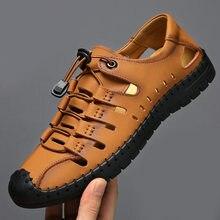 Clássico sandálias masculinas verão sandálias macias confortáveis sapatos masculinos sandálias de couro genuíno tamanho grande macio ao ar livre sandálias romanas