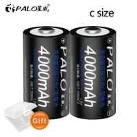 PALO-batería recargable de tamaño C, pila tipo C LR14 de 1,2 V, NI-MH, 4000mAh, baja autodescarga, 1-12 Uds.