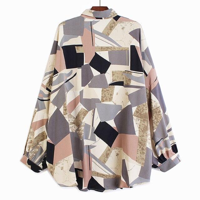[EAM] Women Blue Pattern Printed Big Size Blouse New Lapel Long Sleeve Loose Fit Shirt Fashion Tide Spring Summer 2021 1U400 2