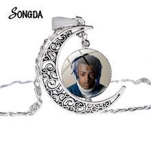 US Rap Singer XXXTentation Moon Pendant Necklace Glass Dome Women Long Chain Necklace Choker Jewelry Men Boy Collections