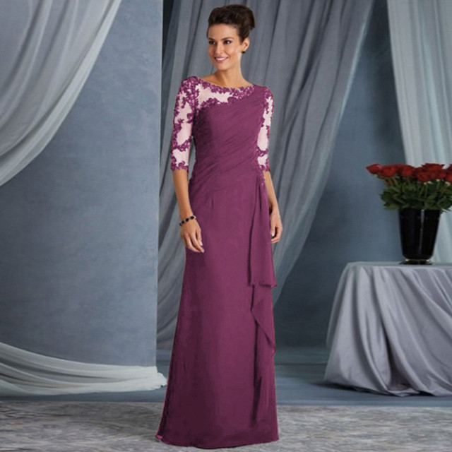elegant lace sleeved formal gown 3