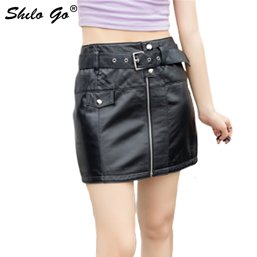 Genuine Leather Skirts Moto Highstreet Buckle Belted Zip Front Pencil Skirt Women Autumn Casual Black Solid High Waist Skirts