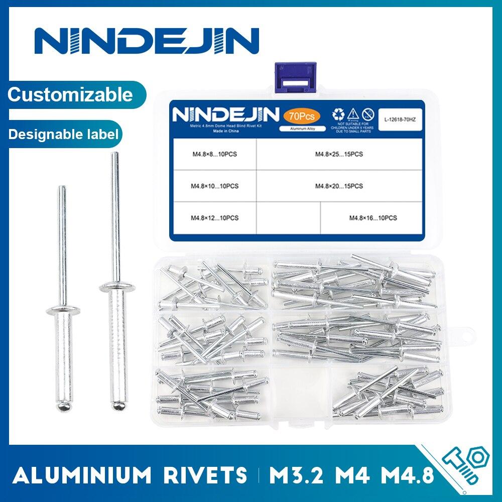 NINDEJIN Aluminium Rivets Pop M3.2 M4 M4.8 Dome Head Blind Rivets Aluminium Assortment Kit Set Exhaust Rivets