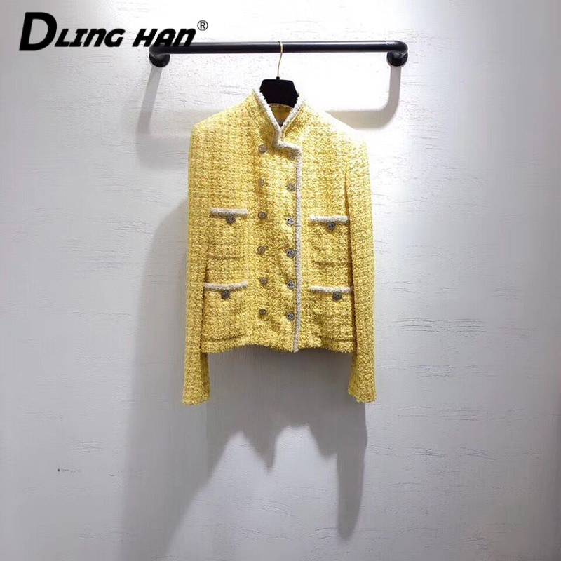 LINGHAN Fashion Plaid Tweed Jacket Light Luxury Crystal Button Double Breasted  Jacket Outwear + Silk Lined Designer Spring New