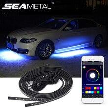 12V RGB SMD Auto Atmosphäre Lichter Musik Fernbedienung RGB LED Streifen Unter Auto Underglow Unterboden system Neon Licht zubehör