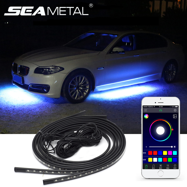12V RGB SMD Car Atmosphere Lights Music Remote Control RGB LED Strip Under Car Underglow Underbody System Neon Light Accessories