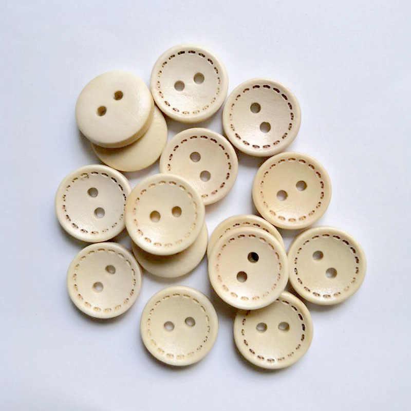 50 sztuk drewniane guziki do naszycia Scrapbooking okrągłe dwa otwory linia Dash 11.5mm Dia. Costura Botones udekoruj bottoni B20410
