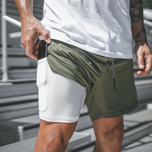 2019 Mens Running Shorts 2 in 1 Sports Male double-deck Quick Drying men Jogging Gym D35