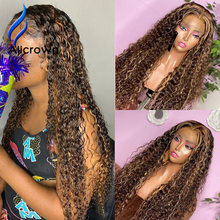 ALICROWN Highlight 13*6 Curly Lace Front Human Hair Wigs Bleached Knots Brazilian Non-remy Hair Lace Wigs Middle Part