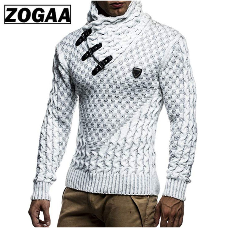 ZOGAA Mens Sweaters 2019 Warm Hedging Turtleneck Pullover Sweater Man Casual Knitwear Slim Winter Sweater Male Brand Clothing