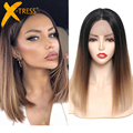 Synthetic Lace Front Hair Wigs Ombre Blonde Black Red Color X-TRESS Yaki Straight Shoulder Length Blunt Lace Part Wig For Women