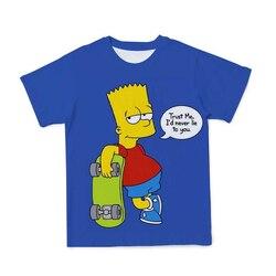 Lato 3D dziecięca nowa koszulka Simpson Cute Cartoon dla dzieci oddychająca i wygodna koszulka z krótkim rękawem z krótkim rękawem (konfigurowalna)