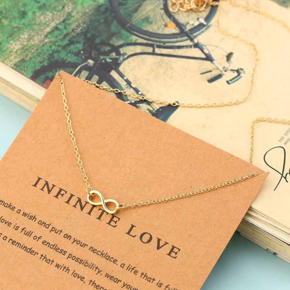 Infinito-Colar de Pingente de Amor para o Amante Meninas Moda Elo Da Cadeia de Jóias Clavícula Colar Da Liga com Cartão de Presentes