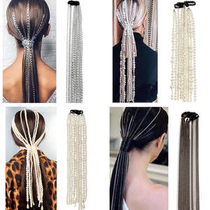 Chain Jewelry Hair-Pins Hair-Accessories Tassel Pearl Long-Hair Wedding Bridal Metal