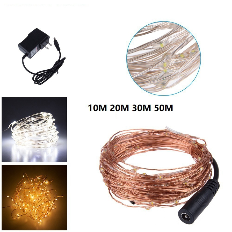 Waterproof Outdoor Christmas Fairy Lights 10m 20m 30m 50m Copper Wire LED String Light Warm White Garlands Light With Adapter