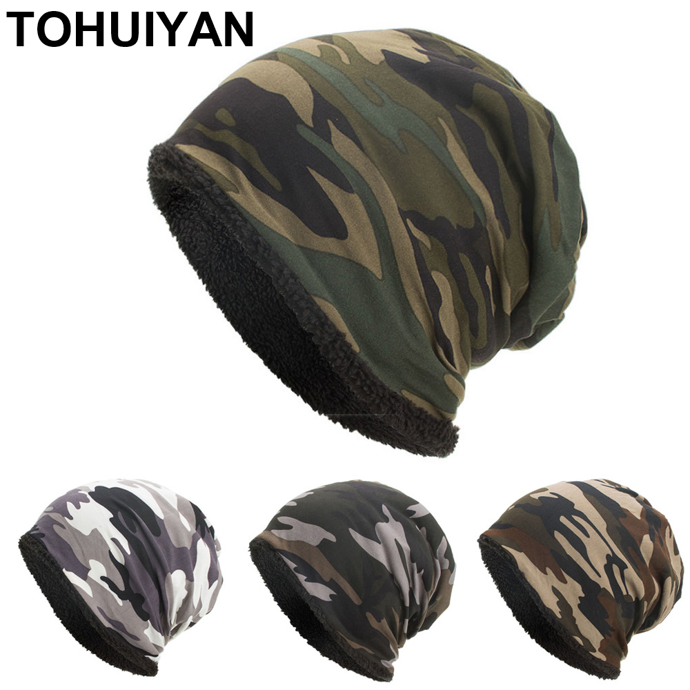 TOHUIYAN Classic Camouflage Hat For Men Outdoor Street Skullies Beanie Hats Autumn Winter Warm Cap Male Baggy Knitted Ski Caps