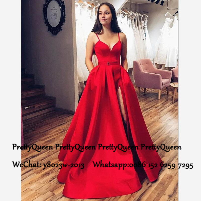 Red Satin A Line Prom Dresses 2020 Spaghetti Strap Sweetheart Side Split Vestido De Festa Long Evening Dress For Women