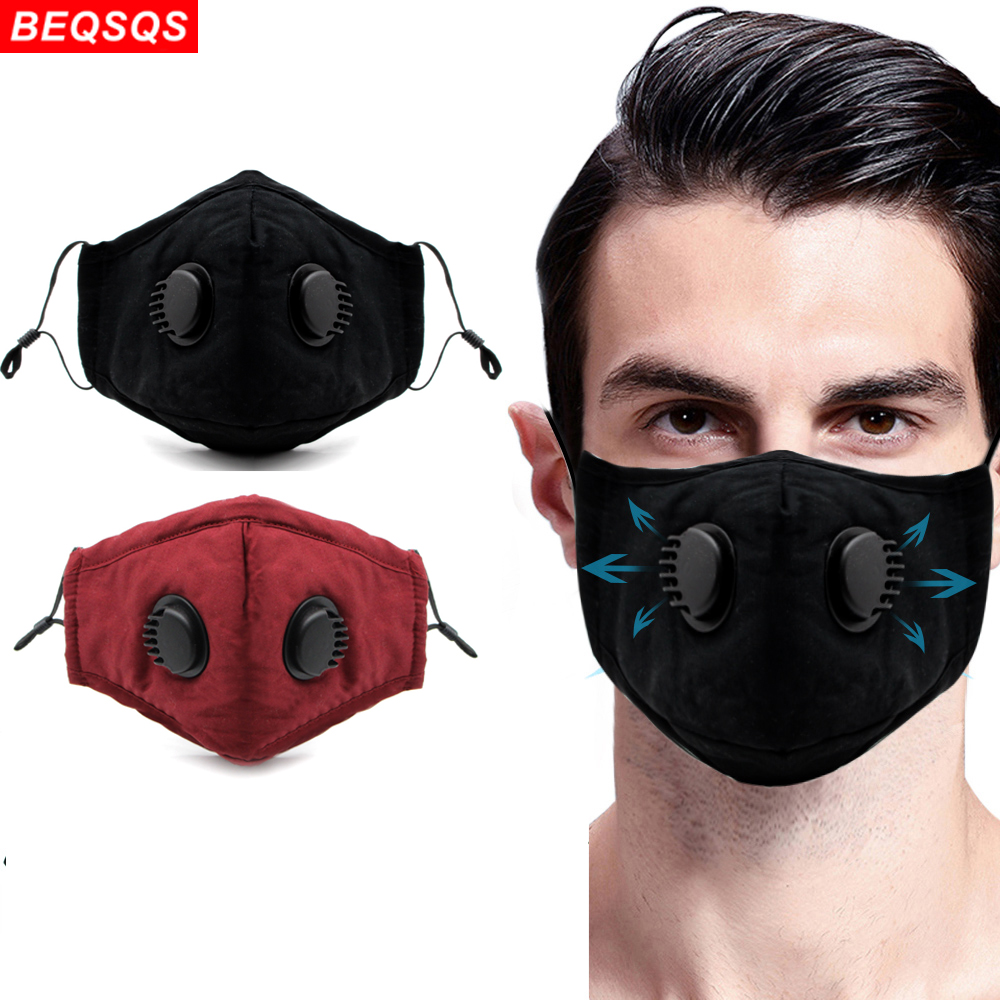 Double Valve Mouth Mask Fashion PM2.5 Mouth Face Mask With 2 Filters Protective Breathable Reusable Cotton Face Mask For Unisex