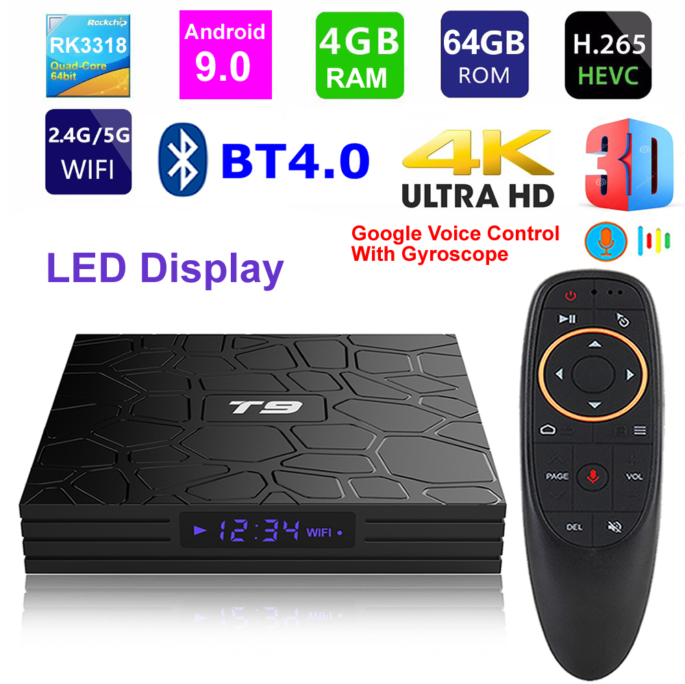 T9 Android 9.0 Smart TV BOX RK3318 Quad Core 4GB Ram 64G Rom Digital Display 2.4G/5G Dual WIFI Bluetooth 3D HDR 4K Media Player