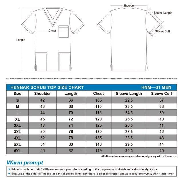 Hennar imprimir uniformes para hombres, imprimir hombres scrub top en blanco, hombres tops uniforme para hombre en 100% algodón