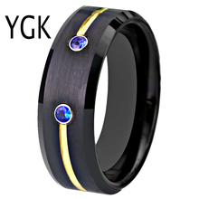 Classic Anniversary Gift Ring Tungsten Wedding Band Engagement Rings For Women Mens Black Golden Groove Blue CZ