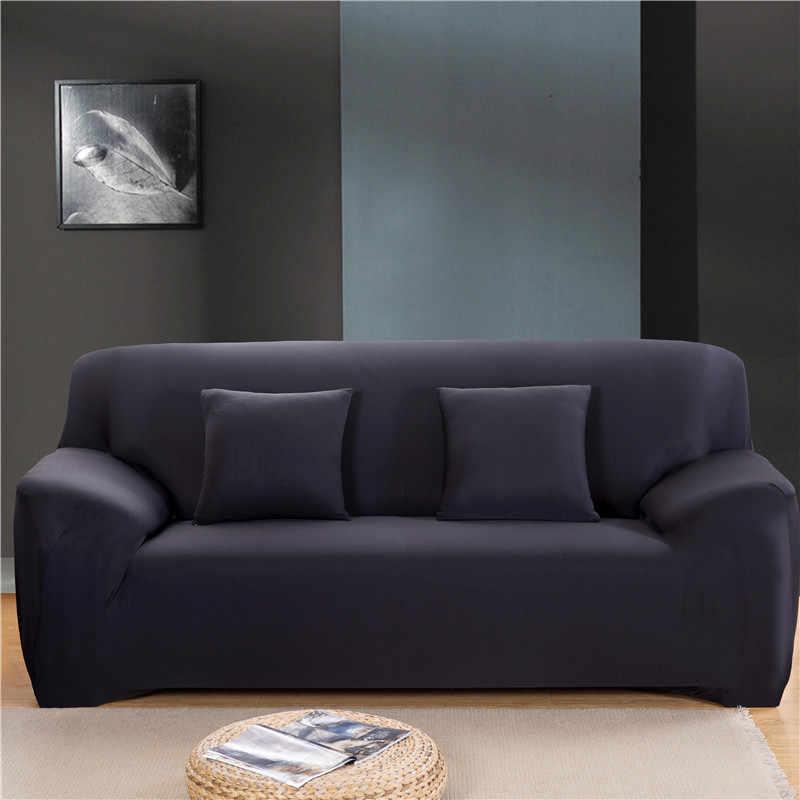 솔리드 컬러 탄성 소파 커버 스판덱스 현대 폴리 에스터 코너 소파 소파 슬립 커버 의자 수호자 거실 1/2/3/4 인승