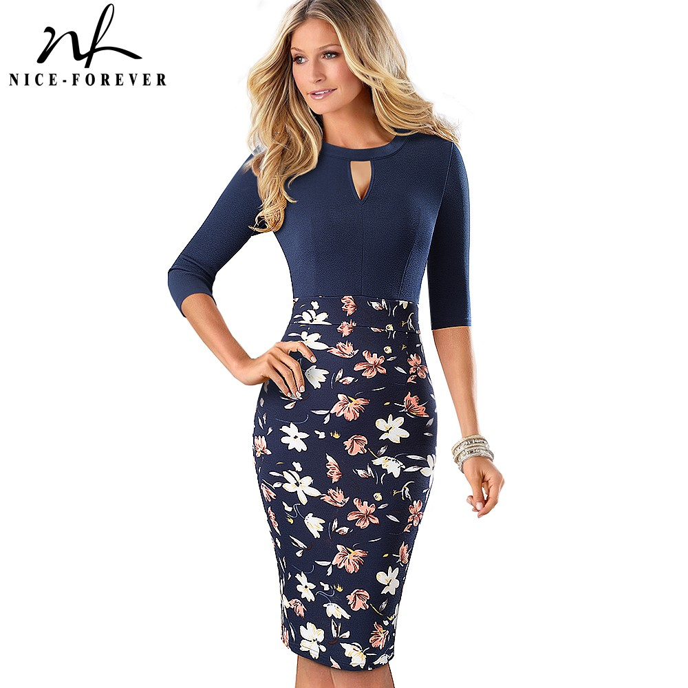 Nice forever Retro Vintage Floral Printed Office Dresses Business Bodycon Sheath Fitted Women Dress btyB