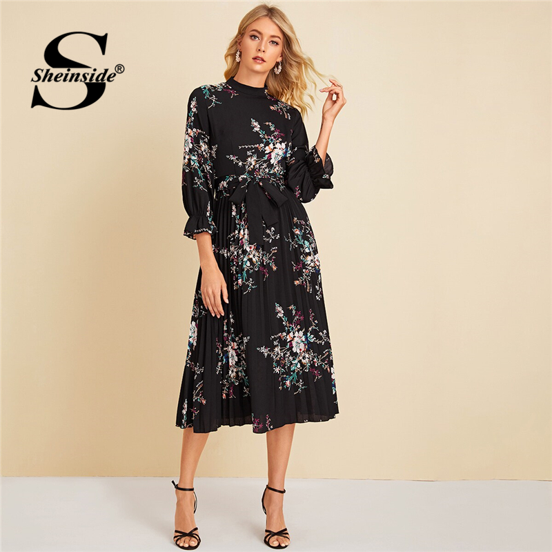 Sheinside Floral Print Flounce Sleeve Dress Women 2019 Autumn Pleated Hem A Line Dresses Ladies Casual Black Belted Dress
