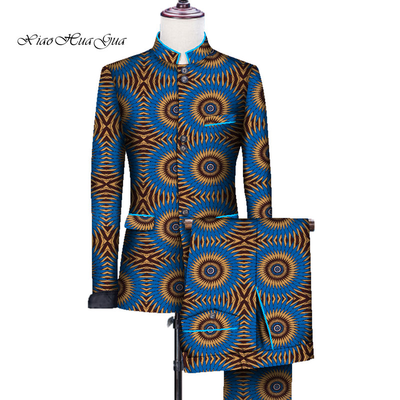 Clearance Sale In stock Men African Blazer Suit Bazin Rich Jacket Tops and Pant Set African Clothes WYN705-4XL-XH
