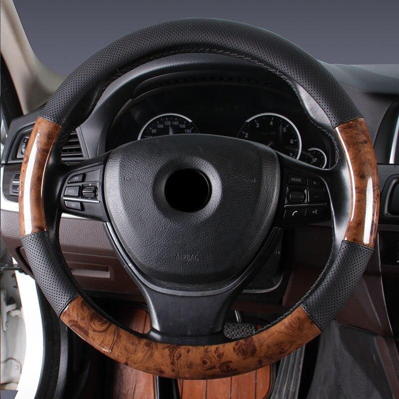 Чехол рулевого колеса автомобиля деревянная зернистая кожа Удобная дышащая оплетка рулевого колеса автомобиля Стайлинг Аксессуары для большинства транспортных средств - Название цвета: Black 38cm
