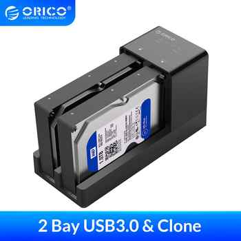 ORICO 2.5 3.5\'\' USB 3.0 to SATA Adapter HDD Enclosure With Clone Dual Bay Docking Station Hard disk Drive Case Box Support 10TB - DISCOUNT ITEM  38 OFF Computer & Office