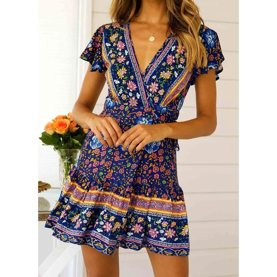Bohemian Womens Floral Bodycon Dress Ladies Ruffle Summer Holiday Mini A-Line Plus Size Dress