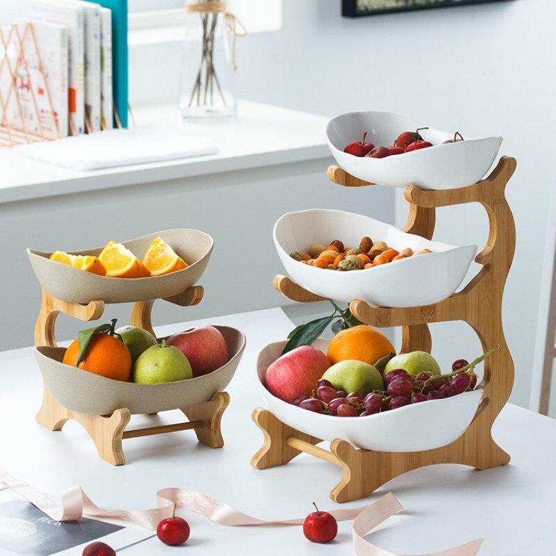Plaque de bonbons en céramique nordique salon maison multi-couche plat de fruits créatif moderne plateau à dessert YHJ121207