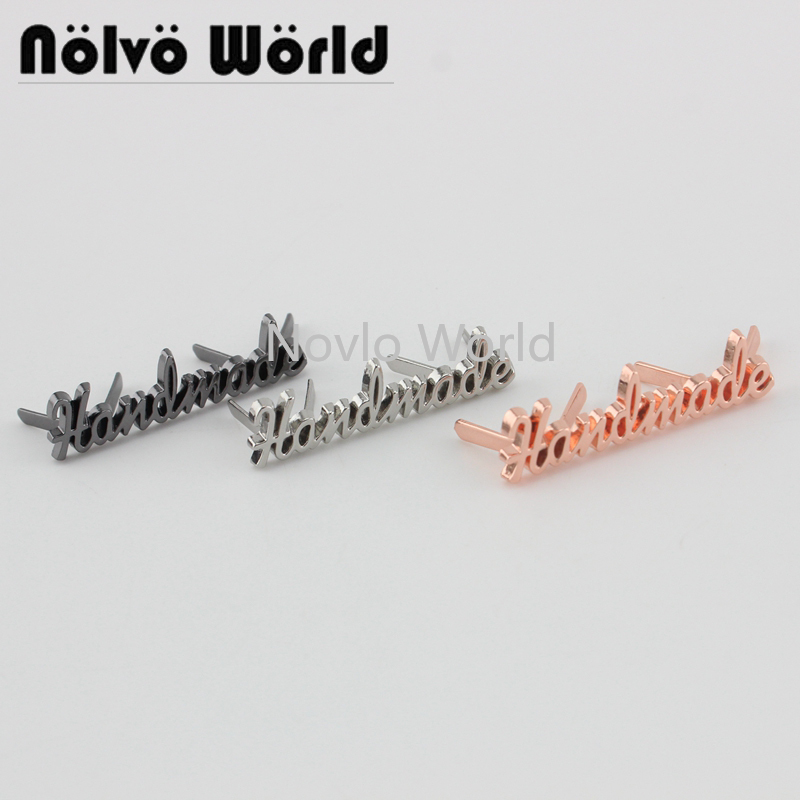 10-50 Pieces,4 Colors Rose Gold Handmade Label,customize Handmade Letters Metal Label Logo For DIY Purse Bags