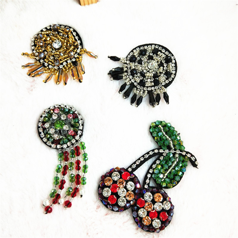 Handmade Beaded Crystal Cherry Small Round Hanging Cloth Custom Shoes And Hats Bags Clothing Accessories Diy