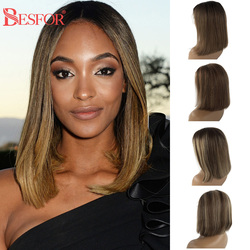 13X6 Lace Front Human Hair Wigs For Women Thick 180% Density Straight Brown Ombre Short Bob Wig Brazilian Vrigin With Baby Hair