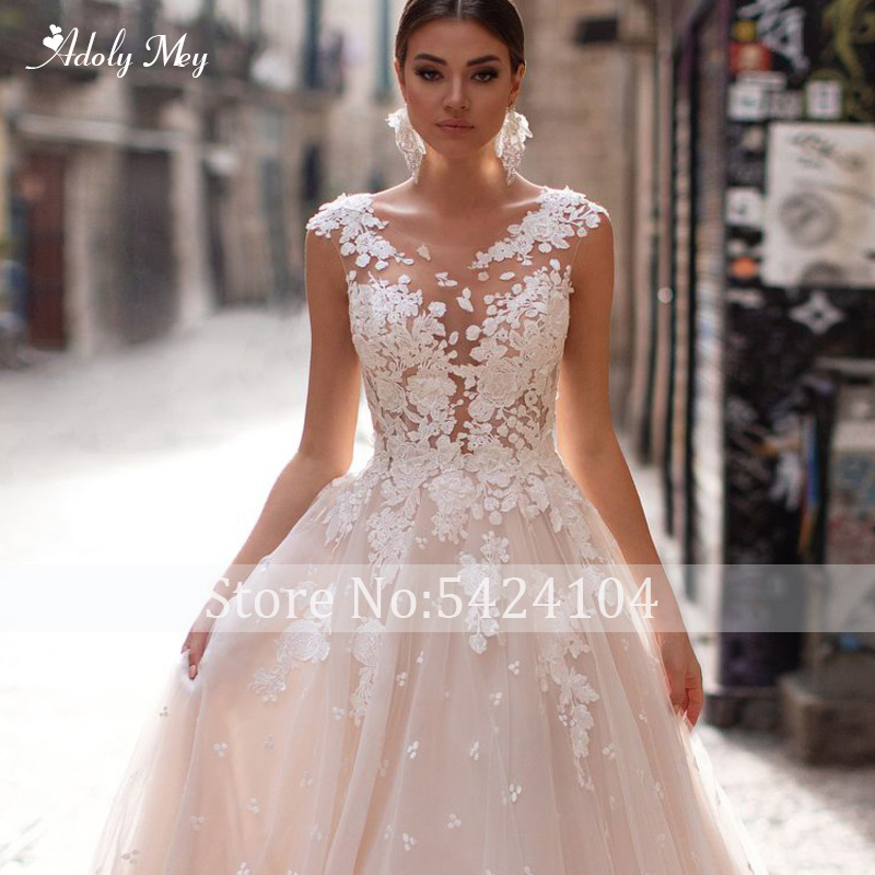 Image 3 - Adoly Mey Romantic Scoop Neck Backless A Line Wedding Dress 2020  Cap Sleeve Appliques Brush Train Princess Bride Gown Plus SizeWedding Dresses   -
