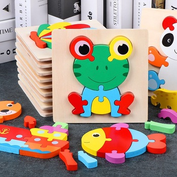 цена Wood Puzzle Wooden 3D Puzzle Jigsaw for Children Baby Cartoon Animal/Traffic Puzzles Educational kids Toys онлайн в 2017 году