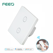 FEEO Wifi Smart Wall Touch Switch Glass Panel EU Standard 2 GANG APP Remote Control Works with Amazon Alexa Google Home eu wifi smart 3 gang wall light switch white panel touch screen sensor switch for amazon alexa google home timer app function s3