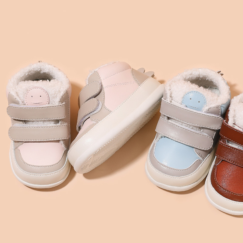 Winter Baby Shoes Lambswool First Walkers Cartoon Baby Girls Sneakers Soft Bottom Baby Moccasins