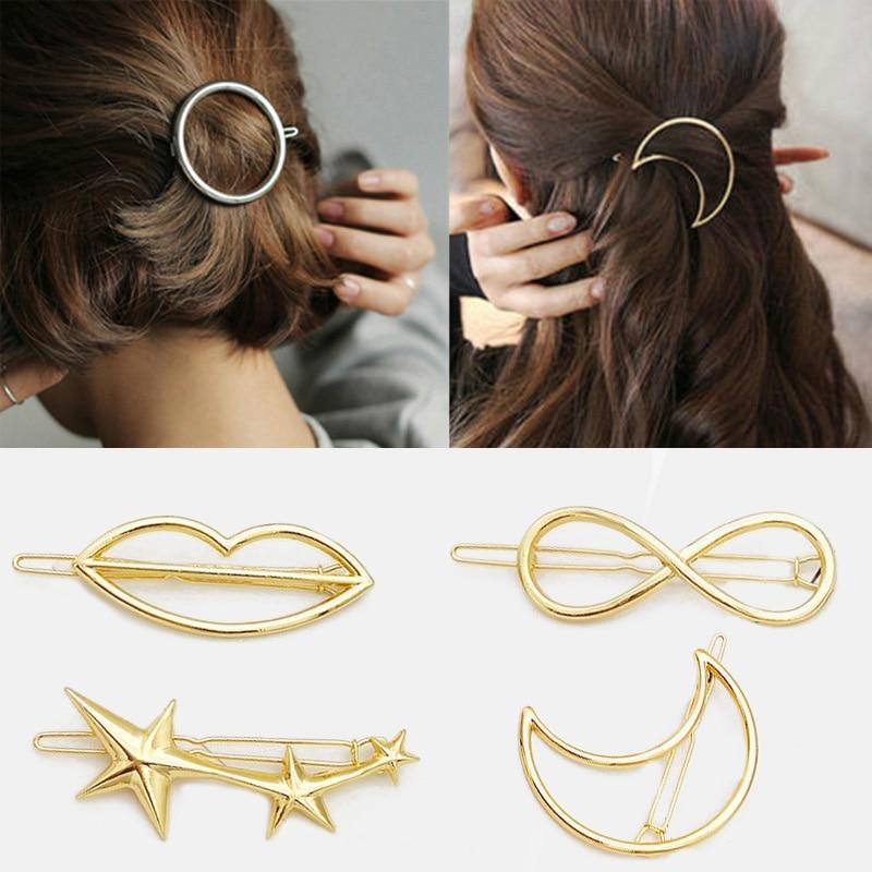 Hairpins-Holder Hair-Accessories Circle Metal Girls Women Fashion Moon Gold/silver-Plated