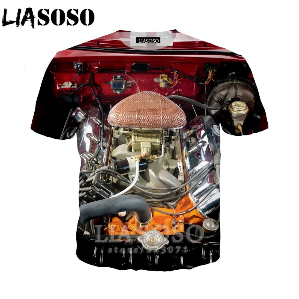 LIASOSO Women Sweatshirt 3D Print Engine T Shirt Car Parts Men`s T-shirts Machinery Men Cartoon Tshirt Harajuku Beach Tees D013-2 (1)