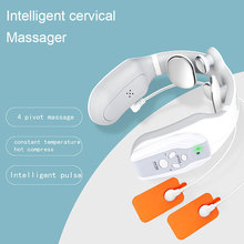 4D Pulse Heated Neck Massager Relieve Neck Pain Electric Neck Massage Equipment with 3 Mode and 15 Speeds Rechargeable