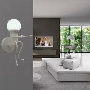 Image 4 - 철 Led 벽 램프 미국 크리 에이 티브 벽 조명 금속 만화 로봇 Sconce 벽 빛 침실 어린이 룸 Luminaire
