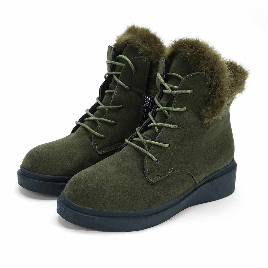 Plush Winter Shoes Women Keep Warm Ladies Fashion Girls Zipper Thick Lace-up Solid Color Martin Short Boots bota feminina